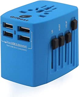 Universal Travel Adapter Gifbest World Wide All in One AC Power Plug Outlet Adapter Wall Charger with 4 Smart Fast Charging USB Ports for Cellphone Tablet Laptop (Blue)