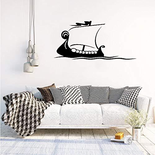 Calcomanías de pared océano mar patrón de barco vinilo pegatinas de pared sala de estar extraíble diseño moderno dormitorio infantil decoración del hogar 58 * 122 cm