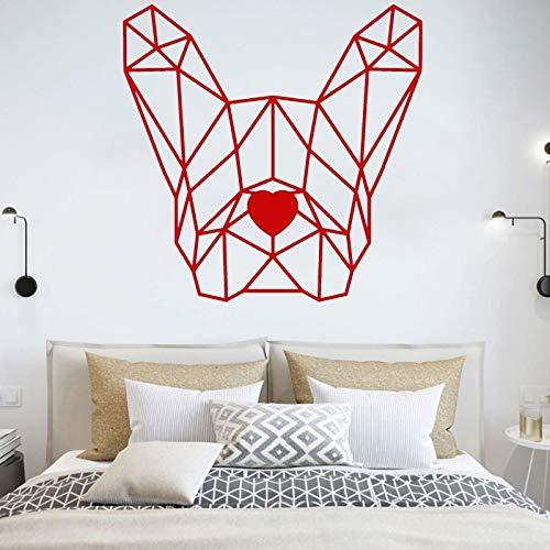 wZUN Calcomanía de Vinilo para Pared de Bulldog francés, Pegatina de polígono geométrico para Perro, decoración de Dormitorio, decoración del hogar para Mascotas, 28X28cm