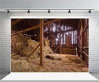 Assanu 7 x 5フィートビニール写真の背景ぼろぼろの古い納屋外からストロー干し草干し草干し草シーン田舎大人アート写真撮影ビデオスタジオの小道具2.2 x 1.5 m
