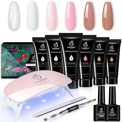 Beetles Poly Nail Gel Kit, Nail Extension Builder Gel Nail Enhancement Trial Kit Professional Nail Technician All-in-One French Kit Gift Set with Mini UV / LED Lamp for Nail Art Starter Kit