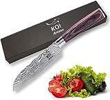 KOI ARTISAN Santoku - Cuchillo de chef de acero inoxidable de alto carbono de 5 pulgadas, resistente a las manchas y la corrosión