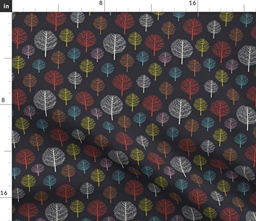 Spoonflower Fabric - Magic Tree Branch Forest Night Autumn Spring Printed on Petal Signature Cotton Fabric by The Metre Sewing Quilting Apparel Crafts Decor