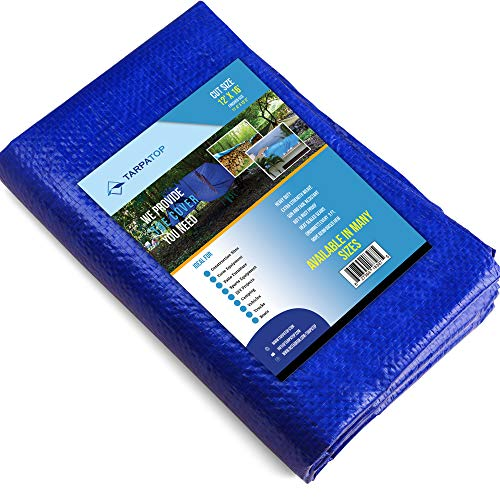 12X16 Waterproof Multi-Purpose Poly Tarp – Blue Tarpaulin Protector for Cars, Boats, Construction Contractors, Campers, and Emergency Shelter. Rot, Rust and UV Resistant Protection Sheet