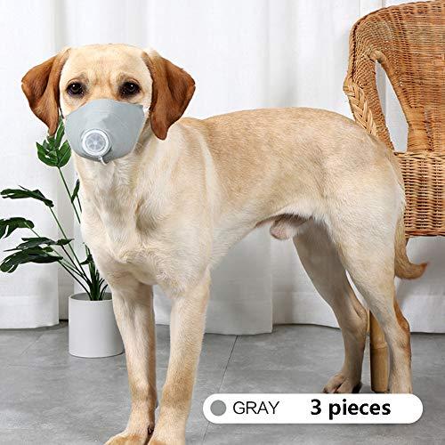 3 Stück/Set Hunde Mundschutz Staubdicht Anti-Beschlag Weiche Wiederverwendbarfür Haustiere Bequem Tragbar Langlebig,Grau,S - 5