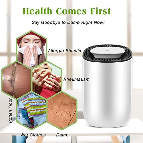 Honati Small Dehumidifier, 2100 Cubic Feet (199 Sq Ft) Ultra Quiet Portable Mini Dehumidifiers with Auto Shut Off for Basement, Bathroom, RV (20 Oz)