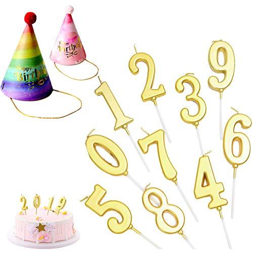 10 Pezzi Compleanno Numerale Candele Torta Numerale Candele Numero 0 - 9 2 Cappelli Di Compleanno,Adatte Per La Decorazione Di Torte Di Compleanno Feste Anniversari