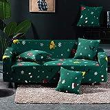 Funda Sofas 2 y 3 Plazas Tema Navideño Verde Oscuro Fundas para Sofa con Diseño Elegante Universal,Cubre Sofa Ajustables,Fundas Sofa Elasticas,Funda de Sofa Chaise Longue,Protector Cubierta para Sofá