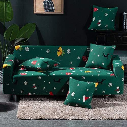 BSZHCT Sofá Elastica Cubierta de impresión Floral Poliéster + Spandex para sofá con Cuerda de fijación Estiramiento antiincrustante Funda de sofá (Verde Oscuro 4 plazas: 235-300cm)