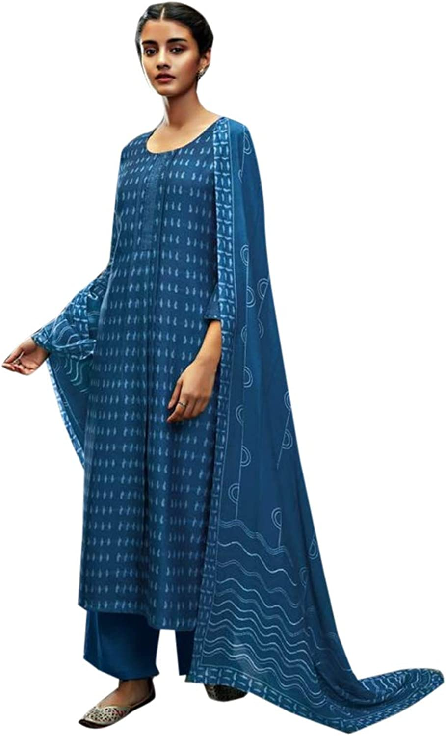 bluee Designer Pure Silk Straight Salwar suit with Printed Dupatta for Women Indian Formal Party wear 7703