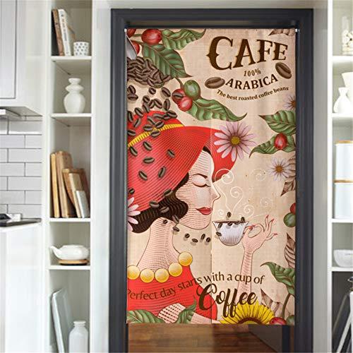 Hiseng Cortina de Puerta Japonesa Noren de Lino y Algodón para Decoración del Hogar, Cafetería Creativo Media Cortina de Puerta, Decoración de Cocina de Dormitorio (Mujer Cafe,85x180cm)