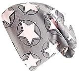 Wollhuhn ÖKO Long-Beanie, Wende-Mütze, ganzjährig, Circle Stars grau-rosa, Innenseite Uni grau, für Mädchen (aus Öko-Stoffen, Bio), 20171215, Größe M: KU 52/54 (ca 3-7 Jahre)