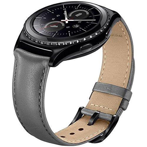 Sundaree Compatible con Galaxy Watch Active2/Galaxy Watch 42MM Correa,20MM Genuina Reemplazo Correa Pulsera Repuesto de Reloj para Samsung Galaxy Watch Active2 40 44/Galaxy Watch 42mm(S2,Gris Cuero)
