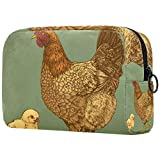 Bolsa de maquillaje personalizada para brochas de maquillaje, bolsas de aseo portátiles para mujeres, bolso cosmético, organizador de viaje, grabado de pollo