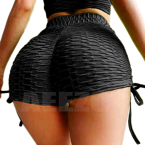 AEEZO Fitness Booty Shorts for Women Scrunch Butt Yoga Workout Short High Waisted Tummy Control Textured Ruched Hot Pants