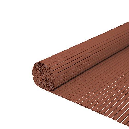 WIS PVC Sichtschutzmatte Zaun Gartenzaun Bambuszaun Braun | Für Terrasse Sportplätzen | Höhe 100cm | Länge 5m | Farbwahl hochwertig & robust Größe...