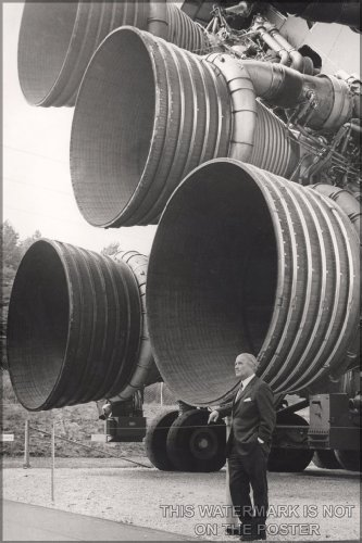 History Galore 24'x36' Gallery Poster, Werner von Braun Standing by Five F-1 Engines Saturn V Engines (Clean up his face)
