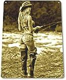 Tin Sign B679 Open Fly Season Pin-up Girl Fishing Hot Rod Reel Fish Metal Tin Sign Decor Iron...