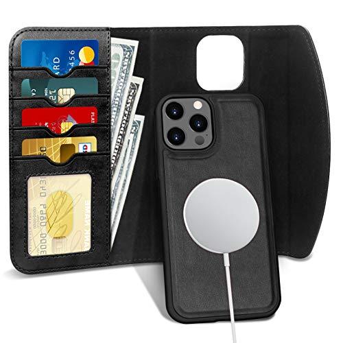 iPhone 12 Pro Max ケース 6.7インチ 対応 FYY [MagSafe対応] ワイヤレス充電 手帳型ケース 背面ケース 両用 2way 分離式 取り外し可能 内蔵マグネット スマホケース カード収納 耐衝撃 高級PUレザーケース 2020