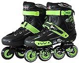 TOPNIU Online Rodillos almohadillas de ruedas Simple alineadas para hombres y mujeres, ropa de adultos, patines de exterior (color negro, tamaño: 35)