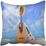 tyui7 Funda de Almohada de Guitarra Guitarra Ukulele Sombrero Auriculares Ocean Beach Sky Funda de Almohada Decorativa Decoración para el hogar Cuadrada 45x45 cm Funda de Almohada