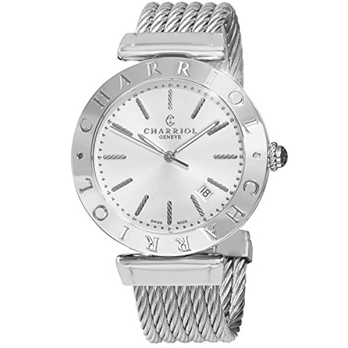 Charriol Alexandre Men's 40mm Silver Steel Bracelet & Case Date Watch...