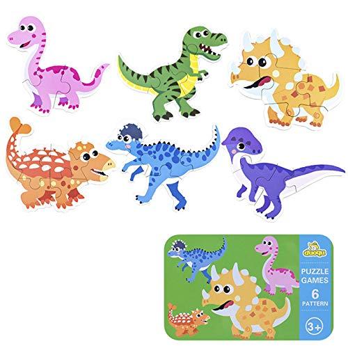 SGDD Puzzles de Madera, Rompecabezas de Dinosaurio de Madera, Puzzles de Madera Educativos para Bebé, Juguetes niños 1 año 2 3 4 5 6 años
