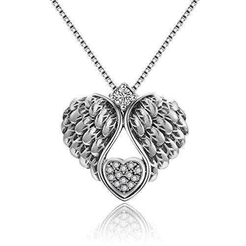 Prämie Kette Damen Silber 925,Zirkonia Flügel herz Anhänger Kette Damen Halskette Silber Schmuck kette für mädchen mutter tochter