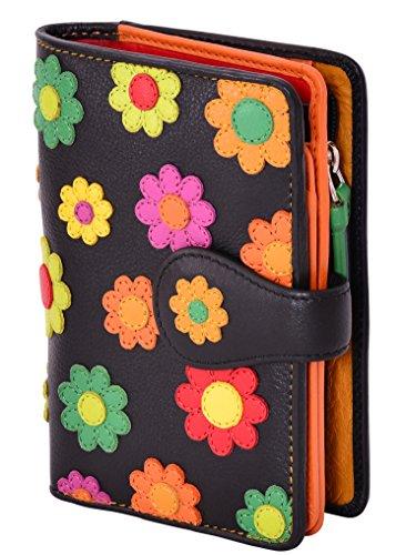 Visconti ® Leder Portemonnaie Damen RFID Schutz Geldbeutel Damen Geldbörse Bifold Mehrfarbig Portmonee in Geschenk-Box Polka Multicolor Purse (P1) (Daisy)
