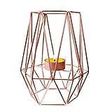 Portavelas Geometrico, Candelabro de Metal Romántico Candelabro Votivo Retro para Decoración del Hogar para Bodas/Banquetes/Decoración de Mesa, 17.5 * 8.4cm (Oro Rosa)