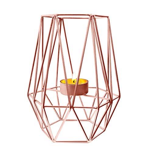 YancLife Metall-Kerzenhalter, Geometrisches Design Retro-Heimdekoration Votiv-Teelicht für Hochzeit/Bankett/Heimdekoration, 17,5 x 8,4 cm (Rotgold)