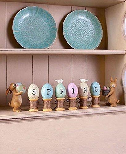 Easter Bunny Egg Thread Spool Statue Figurine