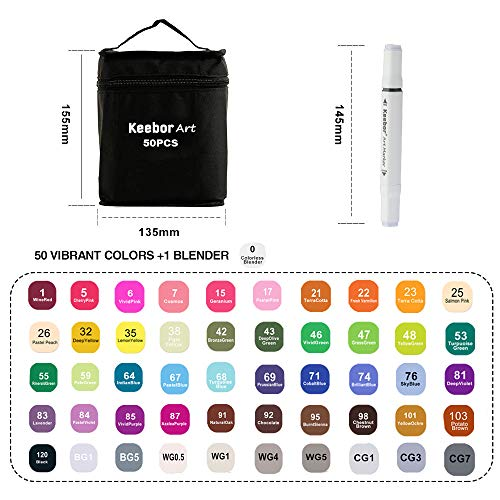 Keebor Premium 50+1 Colors Dual Tip Alcohol Art Markers, Plus 1 Blender Marker with Thick Packing, General Markers for Fine Arts Academy