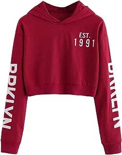 Letters Hoodie Women Crop Tops Long Sleeve Hooded Sweatshirt Pullover Top