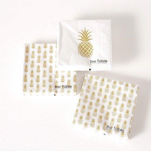 Home Collection - Fête, anniversaire, cuisine, accessoires, vaisselle - kit de 60 serviettes en papier jetable multicolore imprimé avec des images de fruits tropicaux, ananas - 3 plis - 33 x 33 cm