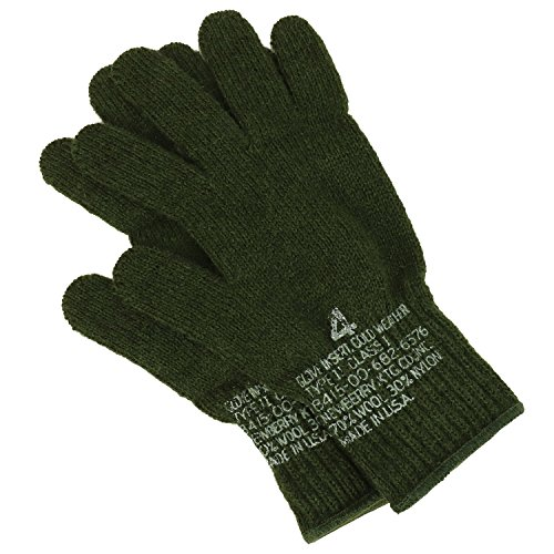Armycrew Men's Goverment Issue Made in USA Wool Glove Liner - OLIVE - XL