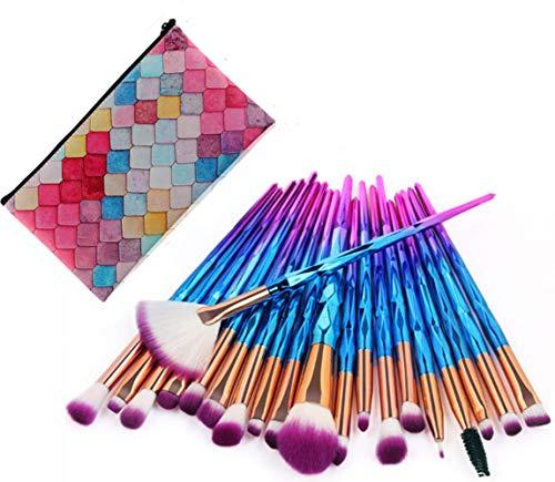 Brochas de Maquillaje Profesional, 20 Piezas Pinceles de Maquillaje de Fibra Sintética para Sombra de Ojos, Colorete, Polvo y Cejas, Brochas Coloridas de Belleza con Bolso Portable
