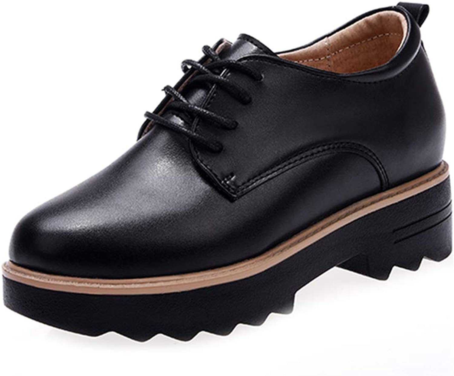 GIY Women's Platform Wedge Oxford shoes Wingtip Lace Up Chunky Heel Casual Dress Oxfords Brogues Black