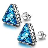 AVATAR Día de San Valentín 925 pendientes de plata esterlina para mujer cristal azul aguamarina electrochapado oro blanco hipoalergénico...