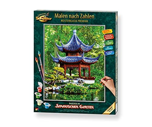 Schipper 609130850 Malen nach Zahlen, Pagode im Japanischen Garten - Bilder malen für Erwachsene, inklusive Pinsel und Acrylfarben, 40 x 50 cm