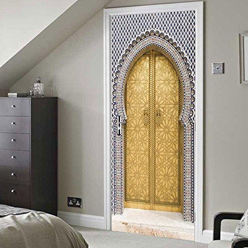 DOORWP @ 3D Türaufkleber, 2 Panels Arabischen Stil Goldene Tür Wandmalereien Wandaufkleber Türaufkleber Tapete Aufkleber Home Decoration