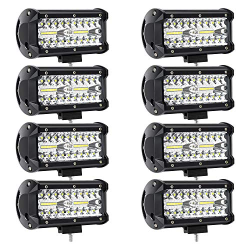 8Pcs 240W LED Light Bar LED Pods 7 Inch LED Work Light Off Road Spot Flood Combo Light 32000LM Waterproof for Jeep Truck Tractor Trailer Boat Pickup Car UTV ATV(8Pack-240W Combo Light)