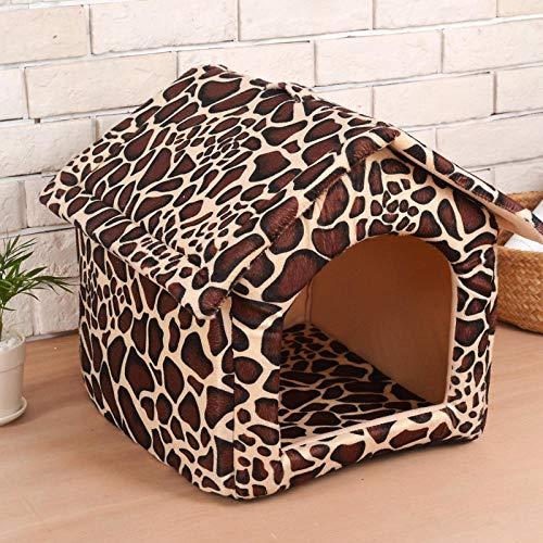 Ygccw Memory Foam Knuffel Hondenmand Bed Dekens Lounger Huisdier benodigdheden Halfgesloten warm vier seizoenen universele kat nestpatroon 32 * 37 * 37cm