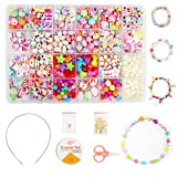 Ucradle Enfants Bricolage Perles Set, 550pcs Perles pour alphabet poney pour la fabrication de bracelets, Collier, Art Craft & Kit de fabrication bijoux pour enfants filles de 4 ans 5 6 7 8, 24 types
