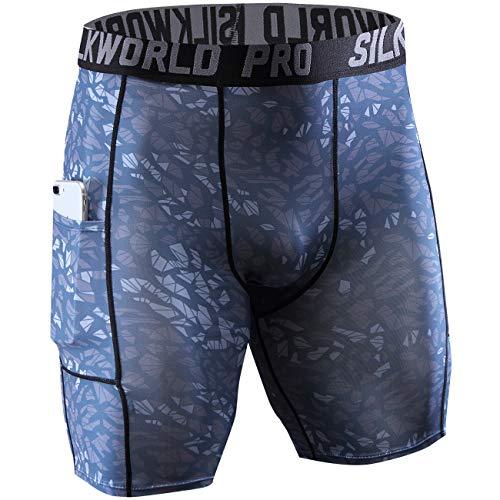 SILKWORLD Men's Printed Compression Shorts Pockets Athletic Workout Tights, Cool Crack, Medium
