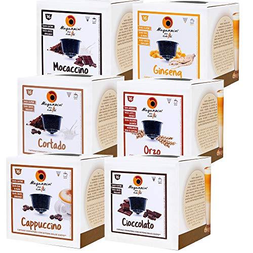 MAGAZZINI DEL CAFFE Box Degustazione da 96 Capsule, Astucci da 16 Capsule Miscele Orzo, Cappuccino, Cortado, Mocaccino e Cioccolato Capsule Compatibili Nescafè Dolce Gusto, Made in Italy