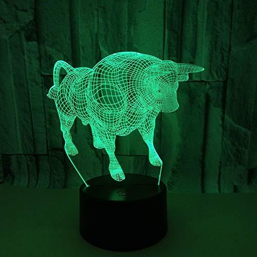 YANG1MN Bull LED Lámpara Colorido Degradado 3D Estereoscópico Táctil Remoto USB Luz Noche Escritorio Imaginativamente Decorado Regalo de Cumpleaños 20 * 13 cm