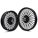 TARAZON Front 21' x 2.15' & Rear 18''x3.5 Fat Spoke Tubeless Front Rear Wheels Rims for Harley Dyna Street Bob FXDB,Super Glide Wide Glide Low Rider/Heritage Softail Classic Deuce Springer
