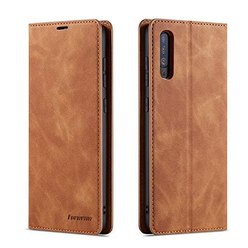 QLTYPRI Hülle für Samsung Galaxy A50, Premium Dünne Ledertasche Handyhülle mit Kartenfach Ständer Flip Schutzhülle Kompatibel mit Samsung Galaxy A30S A50 A50S - Braun