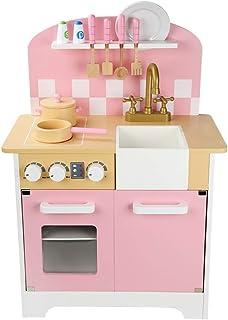 Kids Kitchen Set, Childrens Kitchen Wooden Kitchen Pretend Play Child Cooking Toy Kids Kitchen Accessories Kitchen Cooking...
